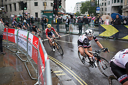 Leah Kirchmann (CAN) of Team Sunweb leans into a corner on Trafalgar Square during the Prudential Ride London Classique - a 66 km road race, starting and finishing in London on July 29, 2017, in London, United Kingdom. (Photo by Balint Hamvas/Velofocus.com)