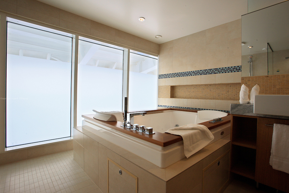 The bathroom in one of the luxury suites onboard the cruise ship Oasis of the Seas. The ship, currently the largest in the world, is owned by Royal Carribean Cruise Line.