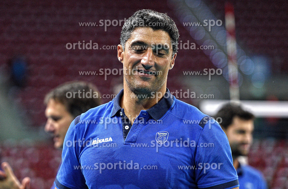 Coach Andrea Giani after winning during volleyball match between National teams of Poland and Slovenia in Quarterfinals of 2015 CEV Volleyball European Championship - Men, on October 14, 2015 in Arena Armeec, Sofia, Bulgaria. Photo by Ronald Hoogendoorn / Sportida