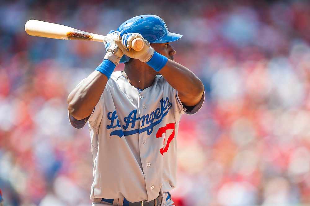 PHILADELPHIA, PA - JUNE 07: Elian Herrera #37 of the Los Angeles Dodgers bats during the game against the Philadelphia Phillies at Citizens Bank Park on June 7, 2012 in Philadelphia, Pennsylvania. (Photo by Rob Tringali) *** Local Caption *** Elian Herrera