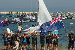 10.08.2012, Bucht von Weymouth, GBR, Olympia 2012, Segeln, im Bild GOLD:.Aleh Jo, Powrie Olivia, (NZL, 470 Women) // during Sailing, at the 2012 Summer Olympics at Bay of Weymouth, United Kingdom on 2012/08/10. EXPA Pictures © 2012, PhotoCredit: EXPA/ Daniel Forster ***** ATTENTION for AUT, CRO, GER, FIN, NOR, NED, .POL, SLO and SWE ONLY!
