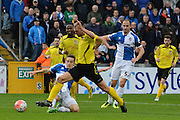 Chesham United striker Brad Wadkins is brought down for a penalty during the The FA Cup match between Bristol Rovers and Chesham FC at the Memorial Stadium, Bristol, England on 8 November 2015. Photo by Alan Franklin.