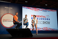 Cyclists Danielle Rowe & Kirsten Wild talk on stage at The Cycling Show at Excel London. Friday 27th July 2018.<br /> <br /> Photo: Thomas Lovelock for Prudential RideLondon<br /> <br /> Prudential RideLondon is the world's greatest festival of cycling, involving 100,000+ cyclists - from Olympic champions to a free family fun ride - riding in events over closed roads in London and Surrey over the weekend of 28th and 29th July 2018<br /> <br /> See www.PrudentialRideLondon.co.uk for more.<br /> <br /> For further information: media@londonmarathonevents.co.uk