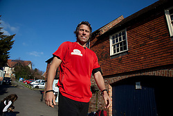 © London News Pictures. 29/02/2012 Boughton Street, Kent. John Bishop runs through the centre of the Kent village of Boughton Street outside Faversham, Kent raising money for Comic Relief. John has already cycled from Paris France to Calais and is now running from Dover to London to raise money for Comic Relief.  Photo credit should read Manu Palomeque/LNP.