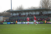 Away stand during the EFL Sky Bet League 2 match between Forest Green Rovers and Walsall at the New Lawn, Forest Green, United Kingdom on 8 February 2020.