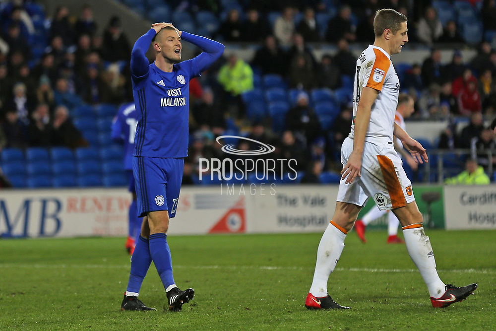 Cardiff City  Anthony Pilkington (13) annoyed at another missed chance during the EFL Sky Bet Championship match between Cardiff City and Hull City at the Cardiff City Stadium, Cardiff, Wales on 16 December 2017. Photo by Gary Learmonth.