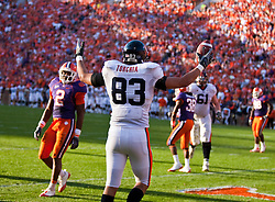 November 21, 2009; Clemson, SC, USA;  Virginia Cavaliers tight end Joe Torchia (83) celebrates after scoring a touchdown against the Clemson Tigers during the second quarter at Memorial Stadium.  Clemson defeated Virginia 34-21.
