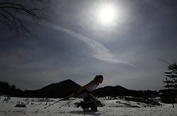 A skier competes in the Women's 5km, Sitting Cross Country Skiing, at the Alpensia Biathlon Centre during day eight of the PyeongChang 2018 Winter Paralympics in South Korea