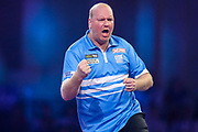 Vincent van der Vort hits a double and wins the second set during the PDC William Hill World Darts Championship at Alexandra Palace, London, United Kingdom on 16 December 2019.