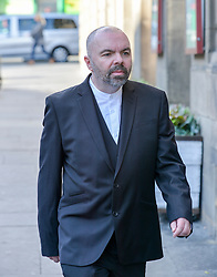Pictured: Stuart Campbell arrives at Court on Tuesday.<br /> <br /> Former Scottish Labour leader Kezia Dugdale appeared at Edinburgh Sheriff Court to defend a defamation action brought by blogger Stuart Campbell over claims she referred to his tweets as homophobic.<br /> <br /> &copy; Dave Johnston/ EEm