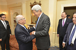 September 19, 2016 - New York, NY, United States of America - U.S Secretary of State John Kerry greets Tunisian President Beji Caid Essebsi before their bilateral meeting September 19, 2016 in New York City. Both men are in New York for the United Nations General Assembly meeting. (Credit Image: © State Department/Planet Pix via ZUMA Wire)