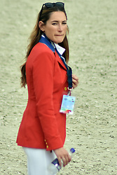 October 6, 2018 - Barcelona, Catalonia, Spain - Professional jockey Jessica Rae Springsteen seen posing for a picture  before the tournament at the CSIO International Jumping Competition. (Credit Image: © Ramon Costa/SOPA Images via ZUMA Wire)