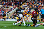 Shaun McWilliams of Northampton Town blocks Bradford City Captain James Vaughan during the EFL Sky Bet League 2 match between Bradford City and Northampton Town at the Utilita Energy Stadium, Bradford, England on 7 September 2019.