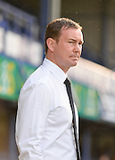 Plymouth Manager Derek Adams during the Sky Bet League 2 play-off first leg match between Portsmouth and Plymouth Argyle at Fratton Park, Portsmouth, England on 12 May 2016. Photo by Adam Rivers.