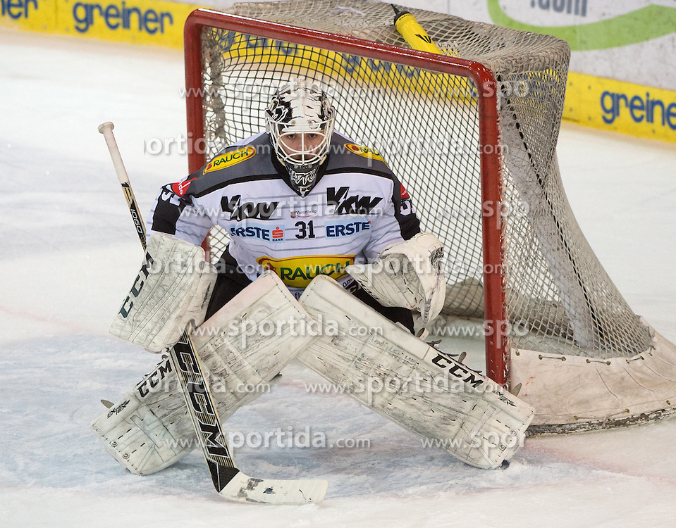 07.02.2016, Keine Sorgen Eisarena, Linz, AUT, EBEL, EHC Liwest Black Wings Linz vs Dornbirner Eishockey Club, Platzierungsrunde,im Bild David Madlener (Dornbirner Eishockey Club) // during the Erste Bank Icehockey League 51th round match - placement round between EHC Liwest Black Wings Linz and Dornbirner Eishockey Club at the Keine Sorgen Icearena, Linz, Austria on 2016/02/07. EXPA Pictures © 2016, PhotoCredit: EXPA/ Reinhard Eisenbauer