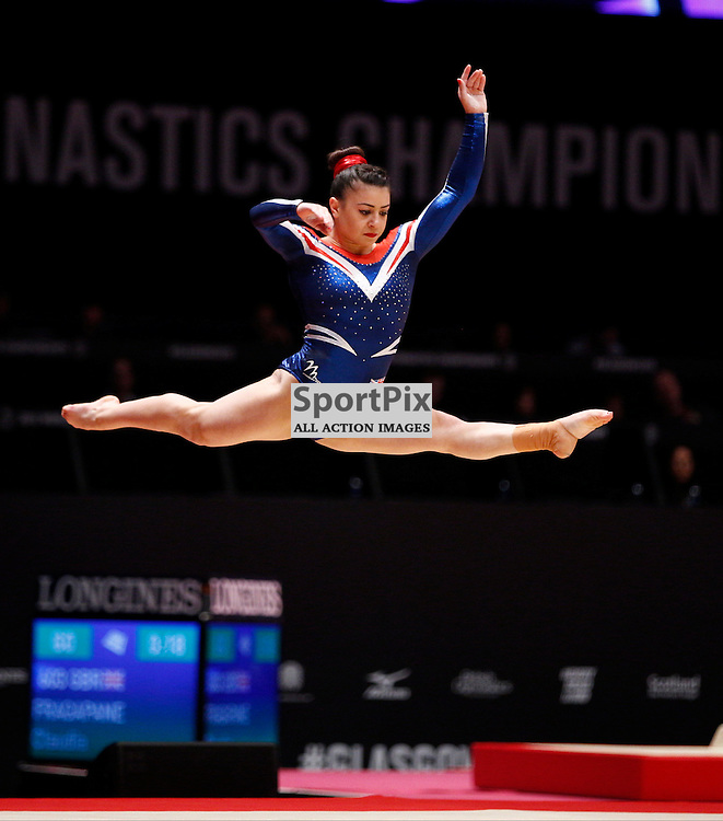 2015 Artistic Gymnastics World Championships being held in Glasgow from 23rd October to 1st November 2015.....Claudia Fragapane (Great Britain) performs in the Floor Exercise on Day 2 of the Women's & Men's Apparatus Final...(c) STEPHEN LAWSON | SportPix.org.uk