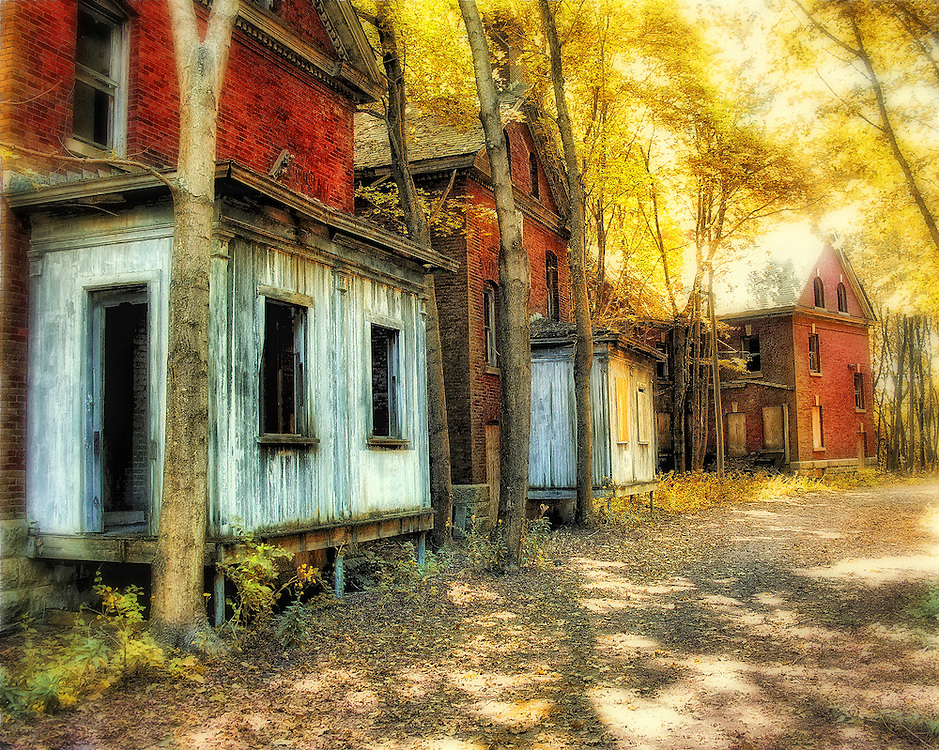 Officers housing buildings at the abandoned Fort Andrews army base on Peddocks Island in Boston harbor.