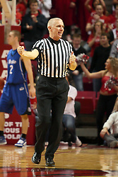 6 February 2010: Official Shawn Lehigh says count the basket on the foul. The Redbirds of Illinois State pull out a win against the Bulldogs of Drake 71-68 on Doug Collins Court inside Redbird Arena at Normal Illinois.