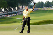 Ángel Cabrera celebrates after winning the 2007 US Open Championship golf tournament at Oakmont Country Club in Oakmont, Pennsylvania.