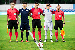 Referees Igor Alokhin (UKR), Anatoliy Abdula (UKR), Viktor Matyash (UKR) with players Miha Gregoric of Gorica and Panagiotis Korbos of Panionios GSS during 2nd Leg football match between ND Gorica (SLO) and Panionios GSS (GRE) in 2nd Qualifying Round of UEFA Europa League 2017/18, on July 20, 2017 in Nova Gorica, Slovenia. Photo by Vid Ponikvar / Sportida