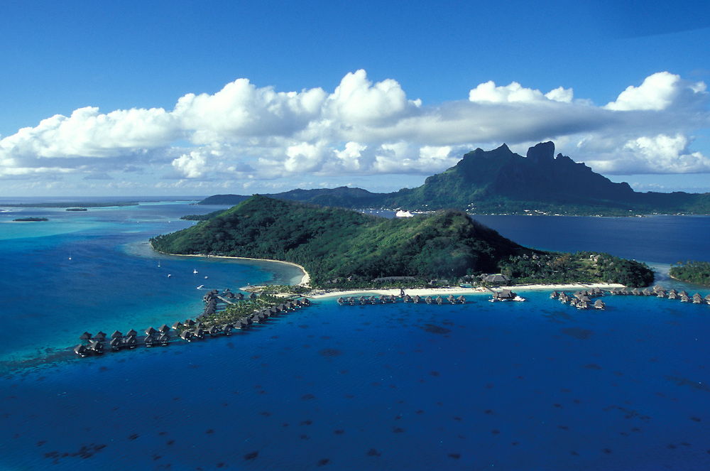 Aerial view from water bungalows of a luxury hotel, Bora Bora, Society island, French Polynesia