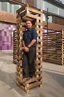 Sami Rintala of Rintala-Eggertsson architects with their installation in Sanlitun North Village, Beijing. October 2009.