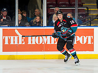 KELOWNA, CANADA - OCTOBER 23:  Michael Farren #16 of the Kelowna Rockets warms up against the Swift Current Broncos on October 23, 2018 at Prospera Place in Kelowna, British Columbia, Canada.  (Photo by Marissa Baecker/Shoot the Breeze)  *** Local Caption ***