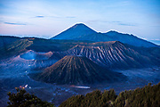The volcano Mount Bromo located in the Bromo Tengger Semeru National Park on East Java. View from the classic viewpoint Gunung Penanjakan.