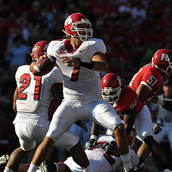 Sept 1, 2008; Piscataway, NJ, USA; Fresno State Bulldogs quarterback Tom Brandstater throws a pass during the second quarter of the Bulldogs 24-7 victory over the Rutgers Scarlet Knights.