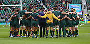 Australian team preparing to take on Scotland during the Rugby World Cup Quarter Final match between Australia and Scotland at Twickenham, Richmond, United Kingdom on 18 October 2015. Photo by Matthew Redman.