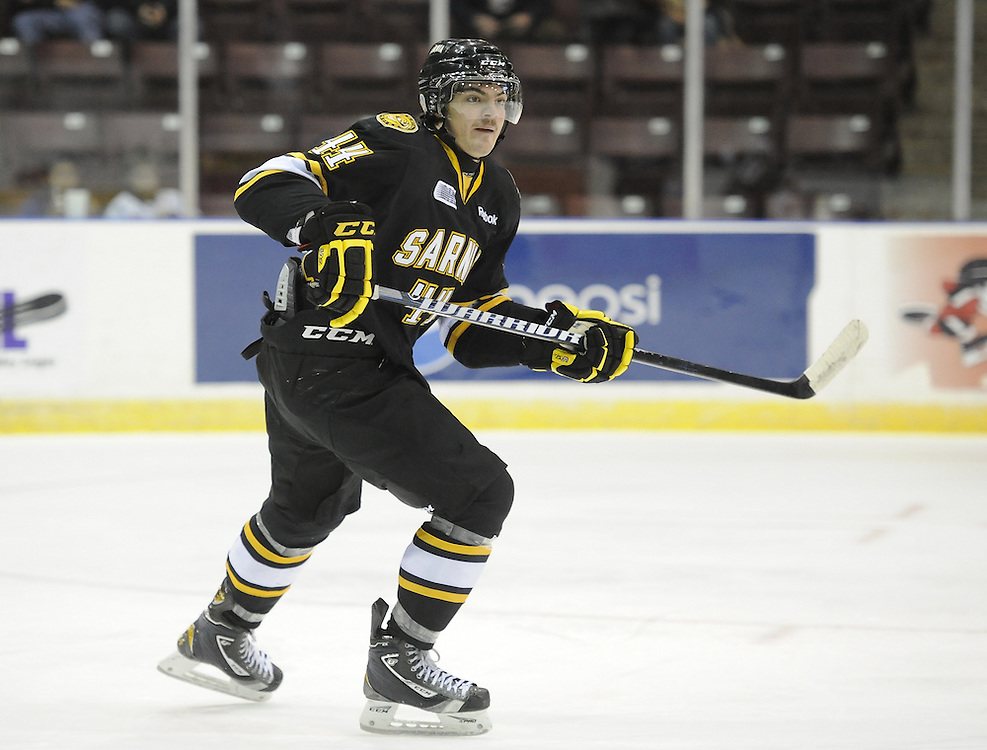 Julian Luciani of the Sarnia Sting. Photo by Aaron Bell/OHL Images