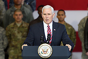 US Vice President Mike Pence delivers a speech to US troops at Yokota Air Base in Tokyo, Japan, 08 February 2018. Pence is in Japan before heading to South Korea for the Winter Olympics. 08/02/2018-Fussa, JAPAN