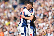West Bromwich Albion defender Kieran Gibbs (3) scores a goal and celebrates  with West Bromwich Albion striker Hal Robson-Kanu (4) 1-0 during the EFL Sky Bet Championship match between West Bromwich Albion and Hull City at The Hawthorns, West Bromwich, England on 19 April 2019.
