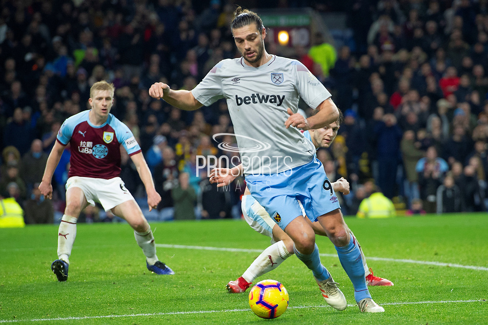 West Ham United forward Andy Carroll (9) during the Premier League match between Burnley and West Ham United at Turf Moor, Burnley, England on 30 December 2018.