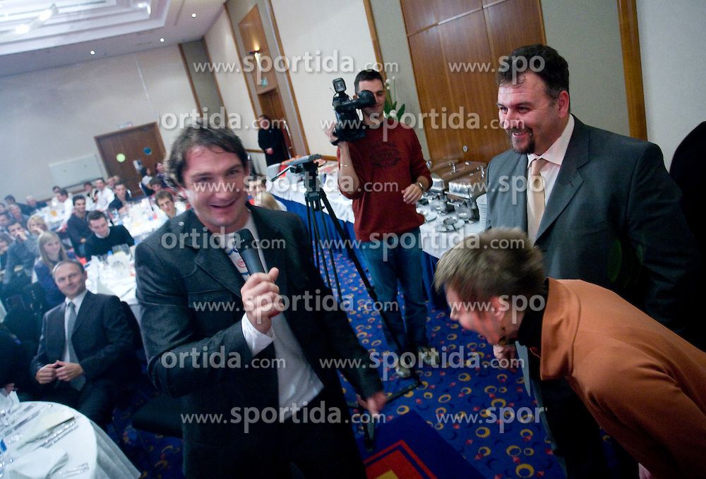 (Right) Lucija, wife of Best coach of the year Vladimir Kevo (R) and left Primoz Kozmus at Best Slovenian athlete of the year ceremony, on November 15, 2008 in Hotel Lev, Ljubljana, Slovenia. (Photo by Vid Ponikvar / Sportida)