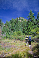 Two backpackers ascend the steep Little Kettle Creek trail to Crater Lake, Eagle Cap Wilderness, Oregon