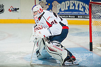 KELOWNA, CANADA - OCTOBER 11: Stuart Skinner #74 of Lethbridge Hurricanes warms up against the Kelowna Rockets on October 11, 2014 at Prospera Place in Kelowna, British Columbia, Canada.   (Photo by Marissa Baecker/Shoot the Breeze)  *** Local Caption *** Stuart Skinner;