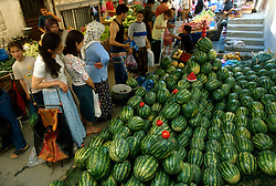 TURKEY ISTANBUL JUL02 - Water melon stall at local market in Hisarustu, Istanbul...jre/Photo by Jiri Rezac..© Jiri Rezac 2002..Contact: +44 (0) 7050 110 417.Mobile:   +44 (0) 7801 337 683.Office:    +44 (0) 20 8968 9635..Email:     jiri@jirirezac.com.Web:     www.jirirezac.com