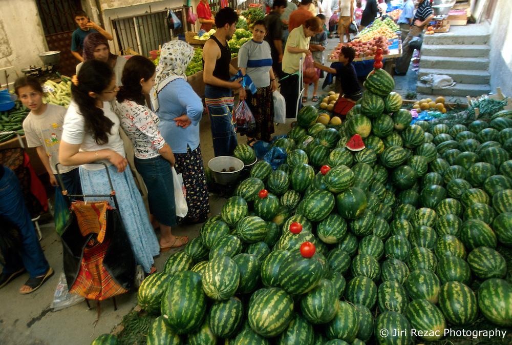 TURKEY ISTANBUL JUL02 - Water melon stall at local market in Hisarustu, Istanbul...jre/Photo by Jiri Rezac..© Jiri Rezac 2002..Contact: +44 (0) 7050 110 417.Mobile:   +44 (0) 7801 337 683.Office:    +44 (0) 20 8968 9635..Email:     jiri@jirirezac.com.Web:     www.jirirezac.com