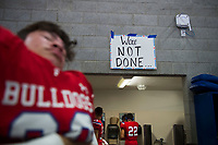 A sign reminding the team of whats on the line hangs in the locker room before the game as the Folsom High School Bulldogs varsity football team hosts the Central High School Grizzlies in the CIF NorCal Division I-AA title game, Friday Dec 8, 2017. The winner of this game will face the CIF SoCal winner in the State Championship game at Sacramento State, Friday Dec 15th.<br /> photo by Brian Baer