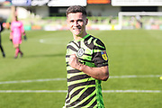 Forest Green Rovers Jack Aitchison(29), on loan from Celtic acknowledges the fans at the end of the match  during the EFL Sky Bet League 2 match between Forest Green Rovers and Colchester United at the New Lawn, Forest Green, United Kingdom on 14 September 2019.