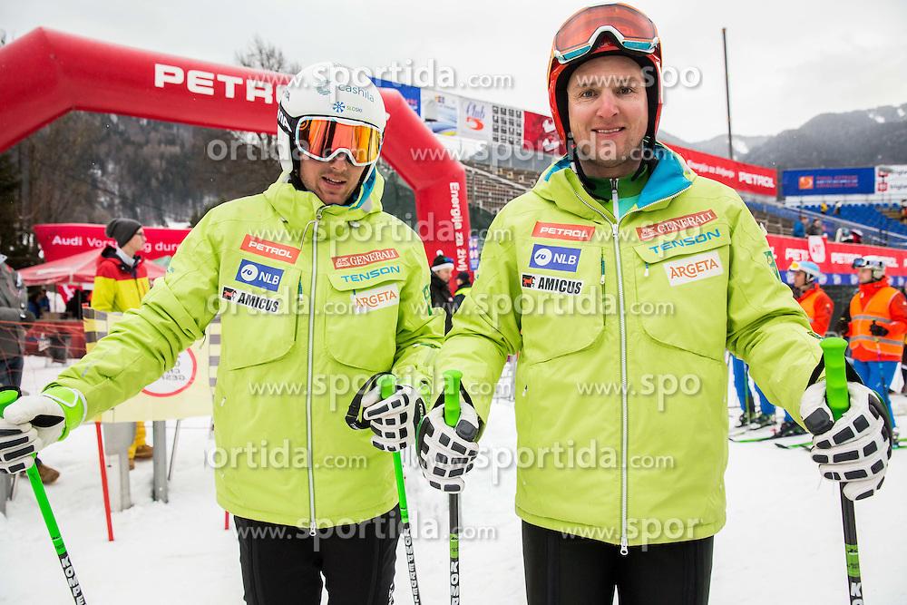 Rok Perko and Andrej Sporn of Slovenia at training prior to the 1st Run of 10th Men's Giant Slalom race of FIS Alpine Ski World Cup 55th Vitranc Cup 2016, on March 5, 2016 in Kranjska Gora, Slovenia. Photo by Vid Ponikvar / Sportida