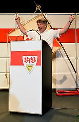 22.07.2013, Porsche-Arena, Stuttgart, GER, 1. FBL, VfB Stuttgart Mitgliederversammlung, im Bild Bernd WAHLER VfB Stuttgart ist neuer Präsident Jubel jubelt nach überwältigender Mehrheit hoch Hochformat, ,  // during General Assembly of German Bundesliga Club VfB Stuttgart at the Porsche-Arena, Stuttgart, Germany on 2013/07/22. EXPA Pictures © 2013, PhotoCredit: EXPA/ Eibner/ Michael Weber<br /> <br /> ***** ATTENTION - OUT OF GER *****