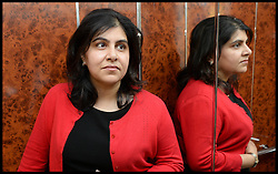 """Image ©Licensed to i-Images Picture Agency. 05/08/2014. London, United Kingdom. Baroness Warsi in the lift as she prepares to leave  her home in London after resigning from the UK Government. The UK Foreign Office minister Baroness Warsi resigned, calling the government's policy on Gaza """"morally indefensible"""". Picture by Andrew Parsons / i-Images"""