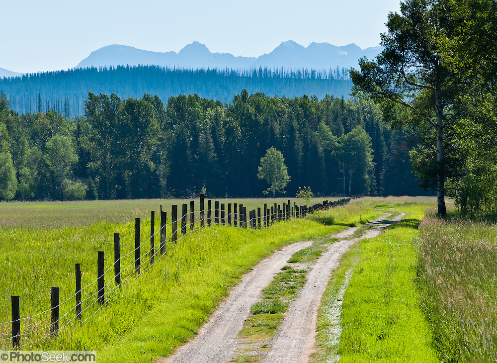 A gravel side road and fence extend into the Valley of the North Fork of Flathead River, along Outside North Fork Road. The Livingston Range in Glacier National Park demarks the Continental Divide, Montana, USA.