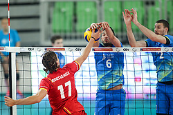 Tomas Rousseaux of Belgium vs Mitja Gasparini of Slovenia and Alen Pajenk of Slovenia during volleyball match between National teams of Slovenia and Belgium in 2nd Round of 2018 FIVB Volleyball Men's World Championship qualification, on May 28, 2017 in Arena Stozice, Ljubljana, Slovenia. Photo by Morgan Kristan / Sportida