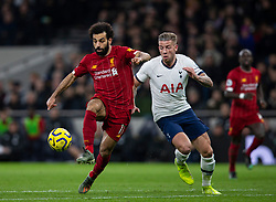 LONDON, ENGLAND - Saturday, January 11, 2020: Liverpool's Mohamed Salah (L) gets away from Tottenham Hotspur's Toby Alderweireld during the FA Premier League match between Tottenham Hotspur FC and Liverpool FC at the Tottenham Hotspur Stadium. (Pic by David Rawcliffe/Propaganda)