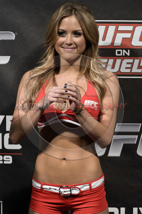 """NOTTINGHAM, ENGLAND, SEPTEMBER 28, 2012: Brittney Palmer stands on stage during the official weigh-in for """"UFC on Fuel TV 5: Struve vs. Miocic"""" inside the Capital FM Arena in Newcastle, United Kingdom on Friday, September 28, 2012 © Martin McNeil"""