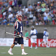 Will Manny #1 of the Boston Cannons walks on the field during the game at Harvard Stadium on May 17, 2014 in Boston, Massachuttes. (Photo by Elan Kawesch)