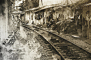 Double exposure film photography along the railway in Hanoi, Vietnam, Southeast Asia